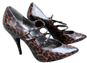 Sam Edelman Leather Brown & Black Leopard Print Pumps