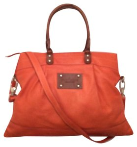 Sundance Leather Tote Satchel in Orange, Brown