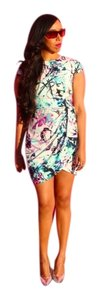 bebe Watercolor Floral Wrap Skirt Spring Work Colorful Dress