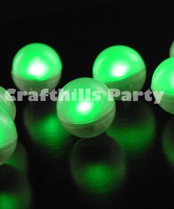 Green 24 Pcs Led Fairy Mini Glowing Waterproof Floating Ball Light For Party Floral Reception Decoration