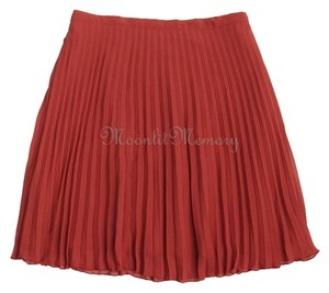 Garnet Hill New Without Tags Pleated Mini Short Mini Skirt Orange