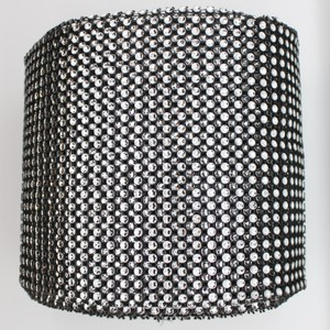 "Black 4.75"" X 10 Yards Diamond Mesh Wrap Roll Sparkle Bling Rhinestone Ribbon Crystal Ribbon Table Party Tools Centerpiece"