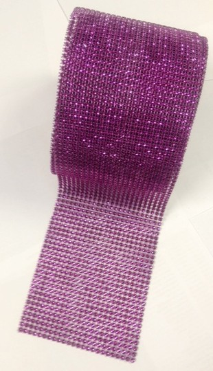 "Purple 4.75"" X 10 Yards Diamond Mesh Wrap Roll Bling Rhinestone Ribbon Crystal Ribbon Table Centerpiece"