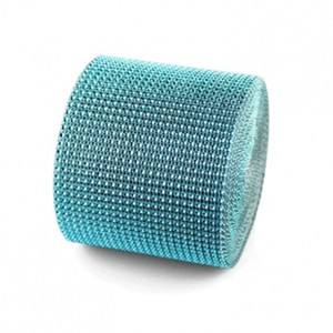 "Teal 4.75"" X 10 Yards Diamond Mesh Wrap Roll Sparkle Bling Rhinestone Ribbon Crystal Ribbon Table Centerpiece"