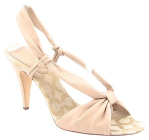 Coach Slingback Peep Toe Leather Logo Nude Cream Tan Sandals