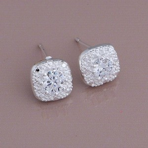 Nwot White Clear Crystal Cluster 925 Logo Sterling Silver Authentic Pave Earring Stud Women Bridal Holiday Ball Bridal