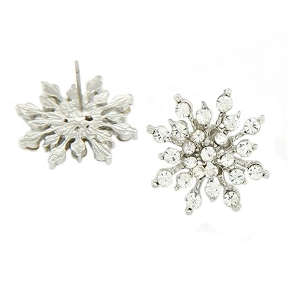 Nwot White Clear Snowflake Stud Studs Diamond Holiday Christmas Crystal  Cluster 925 Logo Sterling Silver Authentic