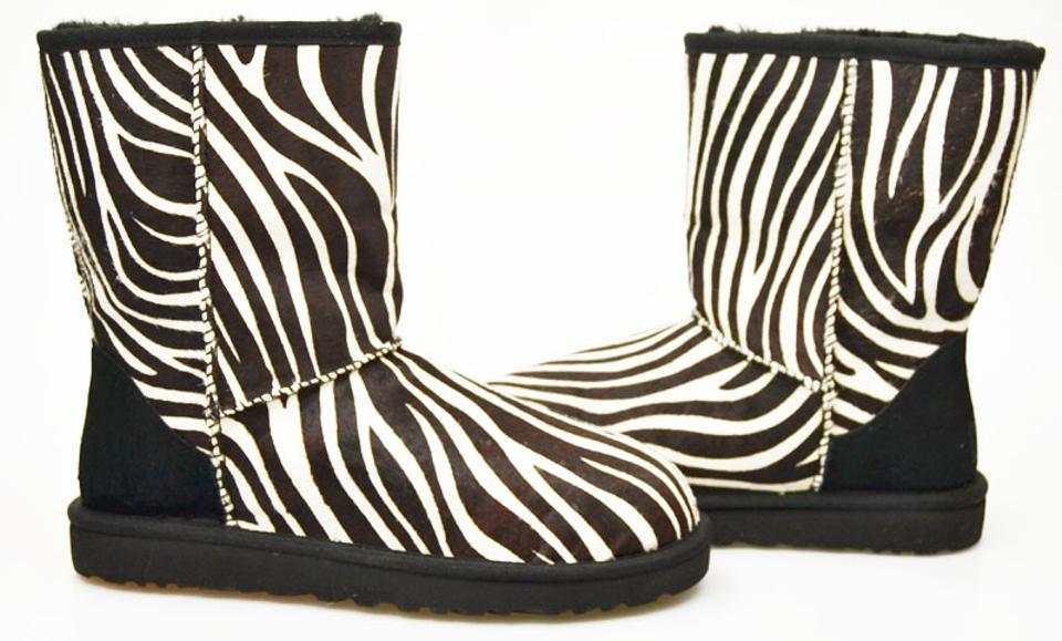 d3f9852dbdf UGG Australia Black and White Zebra Pony Hair Classic Short Exotic  Boots/Booties Size US 8