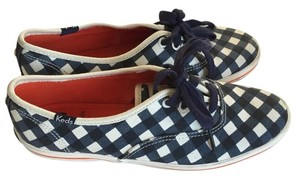 Kate Spade Checkered Navy and White Flats