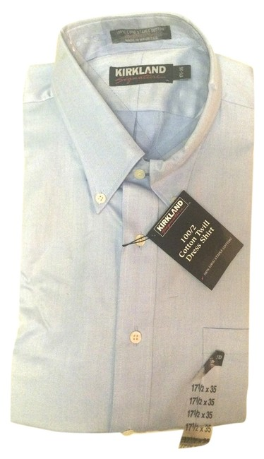 Item - Light Blue Mens Shirt 17 X 35 New Button-down Top Size OS (one size)