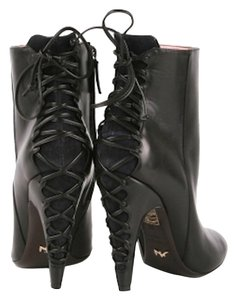 Alexandra Neel Ankle Leather Lace Up Heel Side Zip Black Boots