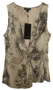 St. John Floral Silk Top Gray