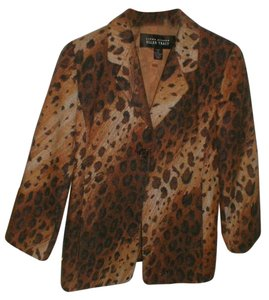 Ellen Tracy brown animal print Blazer