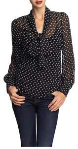 Tinley Road Work Work Long Sleeve Polka Dot Top Black and White