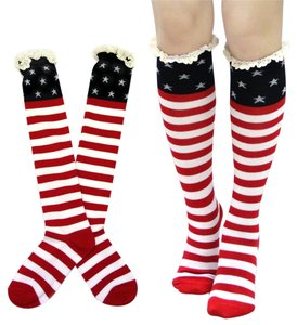 Other American Flag Lace Top Accent Boot Socks Knee Highs