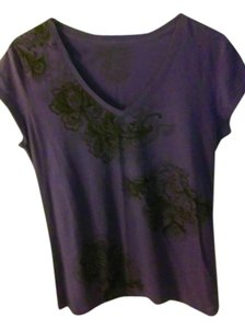 T Shirt Purple with Black floral scroll designs