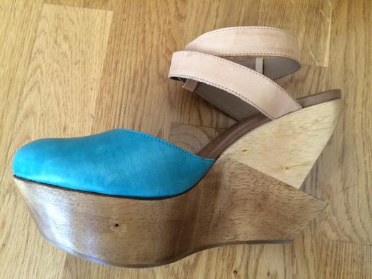 Schuler & Sons' Platform Worn Once Turquoise Wedges
