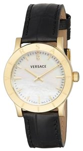 Versace Acron Mother-Of-Pearl, Goldtone Stainless Steel & Leather Watch