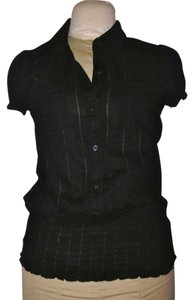 Fang Pinstripe Top Black
