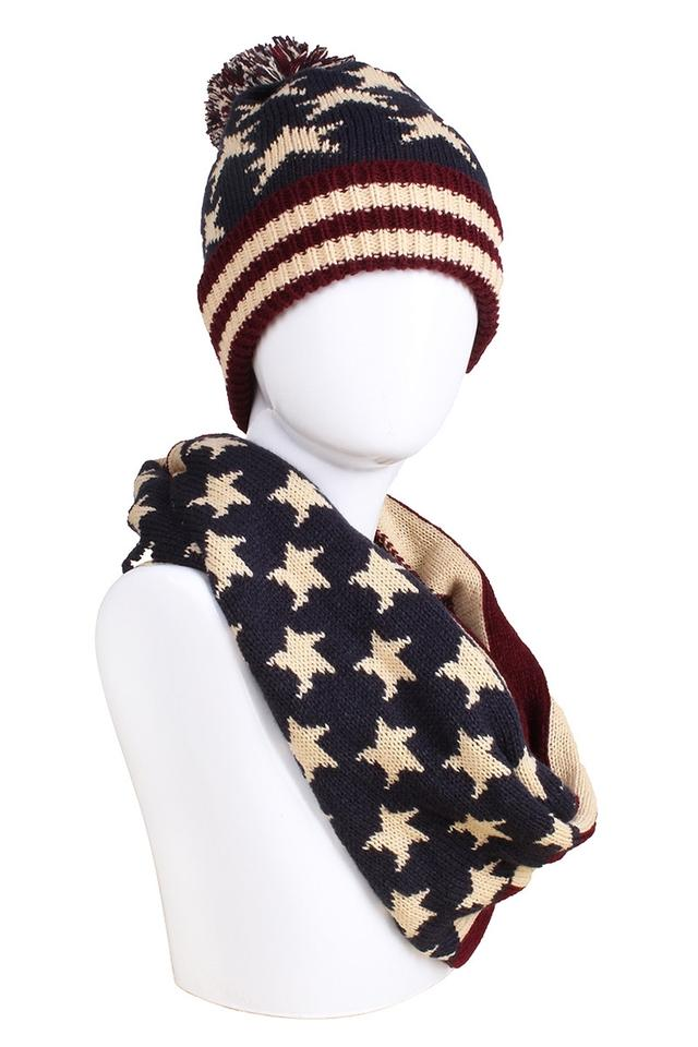 f19115362 American Flag Red Cream Navy Knitted Pom Pom Beanie Winter and Scarf Hat