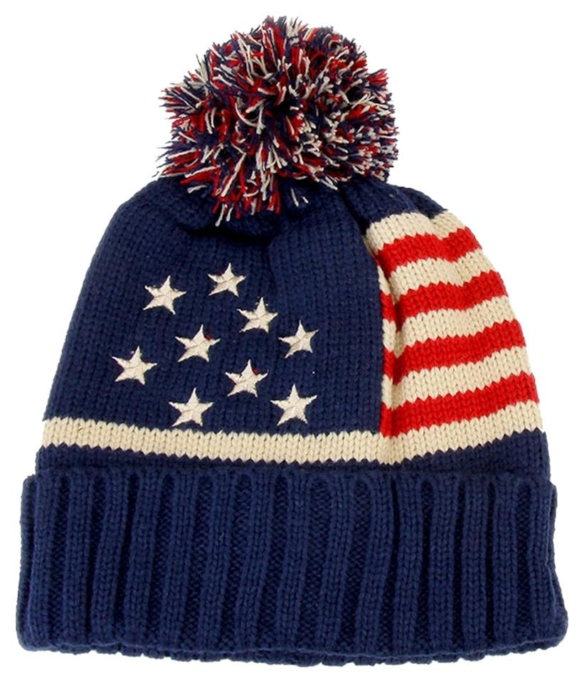 9fdcf596f American Flag Red Cream Navy Knitted Pom Pom Beanie Winter and Scarf Hat