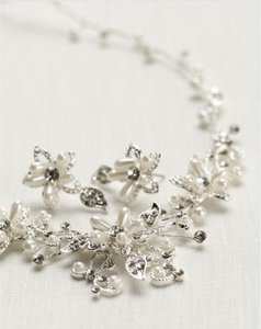 David's Bridal Crystal And Pearl Floral Necklace And Earring Set