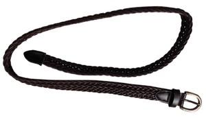 Other Brown leather-like braided belt with chrome buckle
