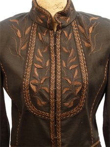 Elie Tahari Designer Black with Brown Embroidered Trim Jacket