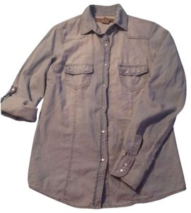 Angel Kiss Chambray Button Down Shirt blue