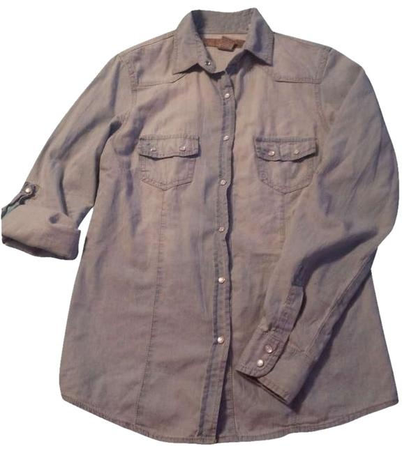 Item - Blue Chambray Button Up Button-down Top Size 8 (M)