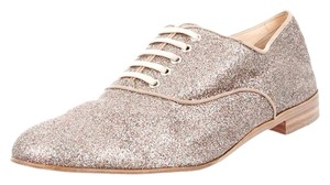 Christian Louboutin Glitter Gold Multicolor Embellished Textured Leather Round Toe Oxford Loafer Red Sole New 41 11 Silver Flats