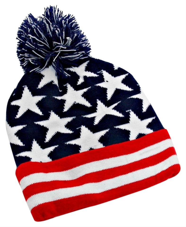 7ae490c9544 American Flag Red White Navy Knitted Pom Pom Beanie Winter Hat - Tradesy