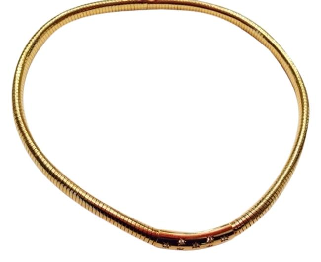 Item - 18k Yellow Gold and Diamonds Tube Gas 1940s Necklace