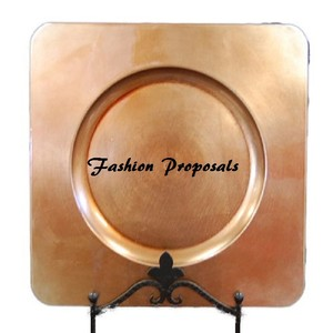 "Bronze 108 Charger Plates Square with Inside Ring For A Round Plate 13"" 108 For Only Tableware"
