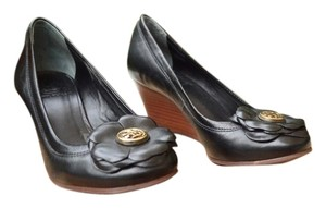 Tory Burch Leather Flower Size 5 Black Wedges