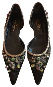 Valentino Ballet Designer New Rock Stud Fashion Accessories Satin Brown Vintage Brown Satin Flats