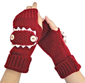 Other Burgundy Red Beige Lace Trim Buttoned Accent Knit Fingerless Thumb Hole Arm Warmer Gloves