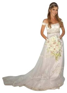 Reem Acra Ivory & Lavender Satin Tulle Romantic Showstopper Feminine Wedding Dress Size 0 (XS)