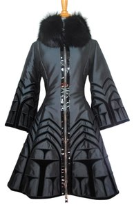 Andrew Gn Fox Jacket Bergdorf Goodman Velvet Embroidered Fit And Flare S 36 France Paris Winter Romantic Runway 4 Small Fur Coat