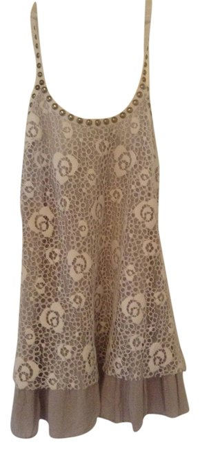 Item - White Lace with Grey Mid-length Night Out Dress Size 2 (XS)