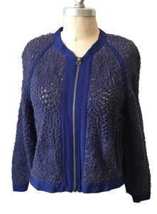 Other Sporty Textured Mesh Rosette Grosgrain Trim Nwot Periwinkle Blue Jacket