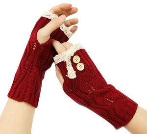 Other Burgundy Red Beige Lace Trim Buttoned Accent Knit Fingerless Thumbhole Arm Warmer Gloves