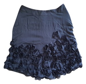 Talbots Knee Length Flowers Skirt Black
