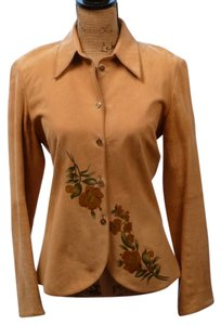 THE WRIGHTS Designer Suede Hand-painted Button Down Shirt Tan