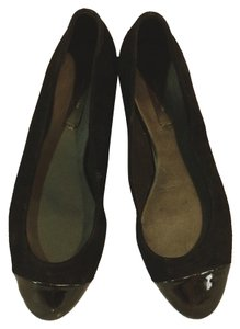 Ann Taylor Suede Patent Toe Black Flats