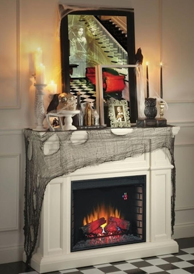 Charcoal Spooky Decor Fabric * Decorate Your Mantle Staircase Lamp Walls &  More Tablecloth 56% off retail