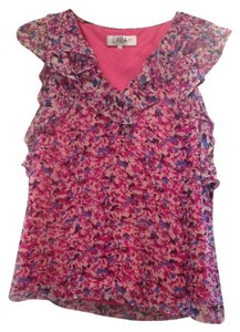 Tibi Floral Ruffled Summer Top pink