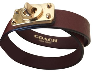 Coach Coach Double Wrap Turnlock Leather Bracelet