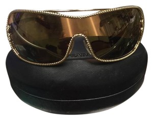 Prada Prada SPR 62H Velvet Rope Brown Metal & Plastic Rectangular Sunglasses made in italy