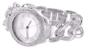 Other Silver Tone Roman Numeral Dial Iced Lab Diamond Miami Cuban Chain Watch Bracelet
